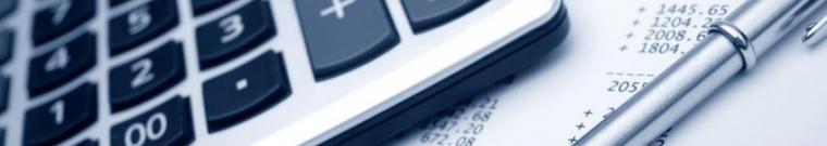 Immagine calcolatrice e pagina di bilancio